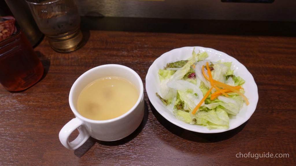 ランチメニューはライス・サラダ・スープ付き