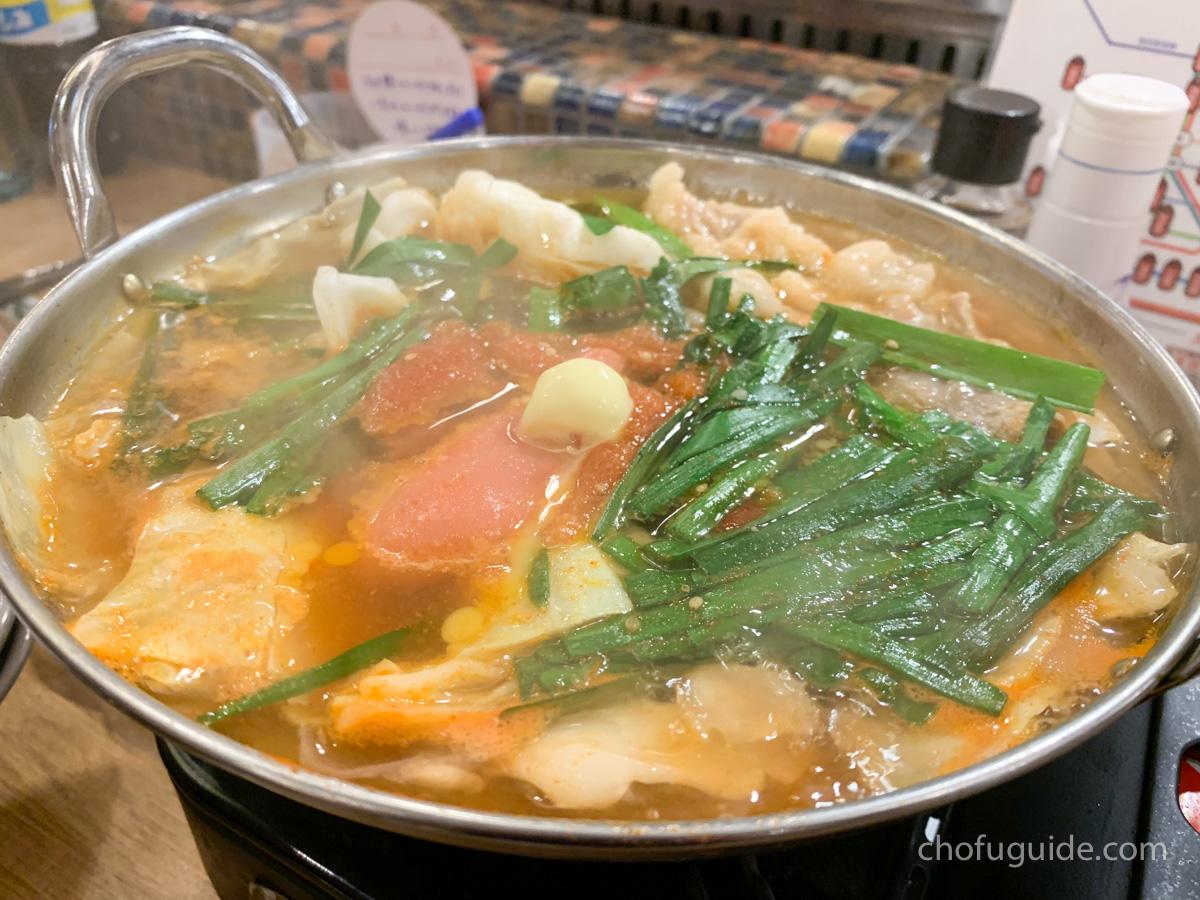 明太もつ鍋のピリ辛の完成