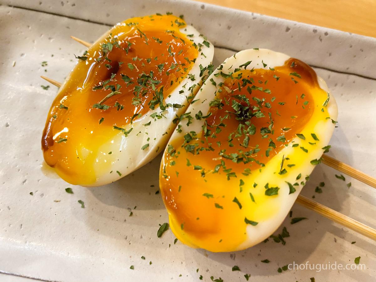 半熟卵のあぶり醤油