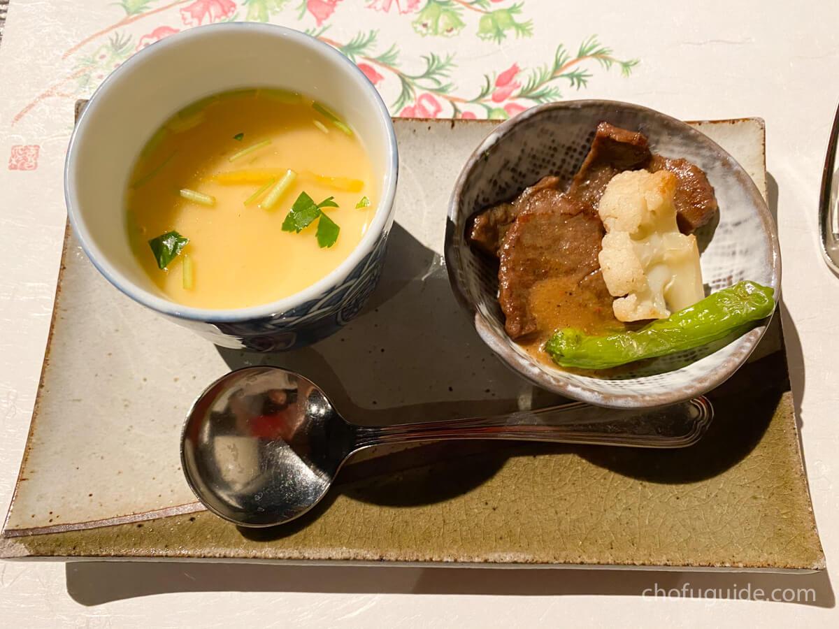 今月のスープと日替りの一品