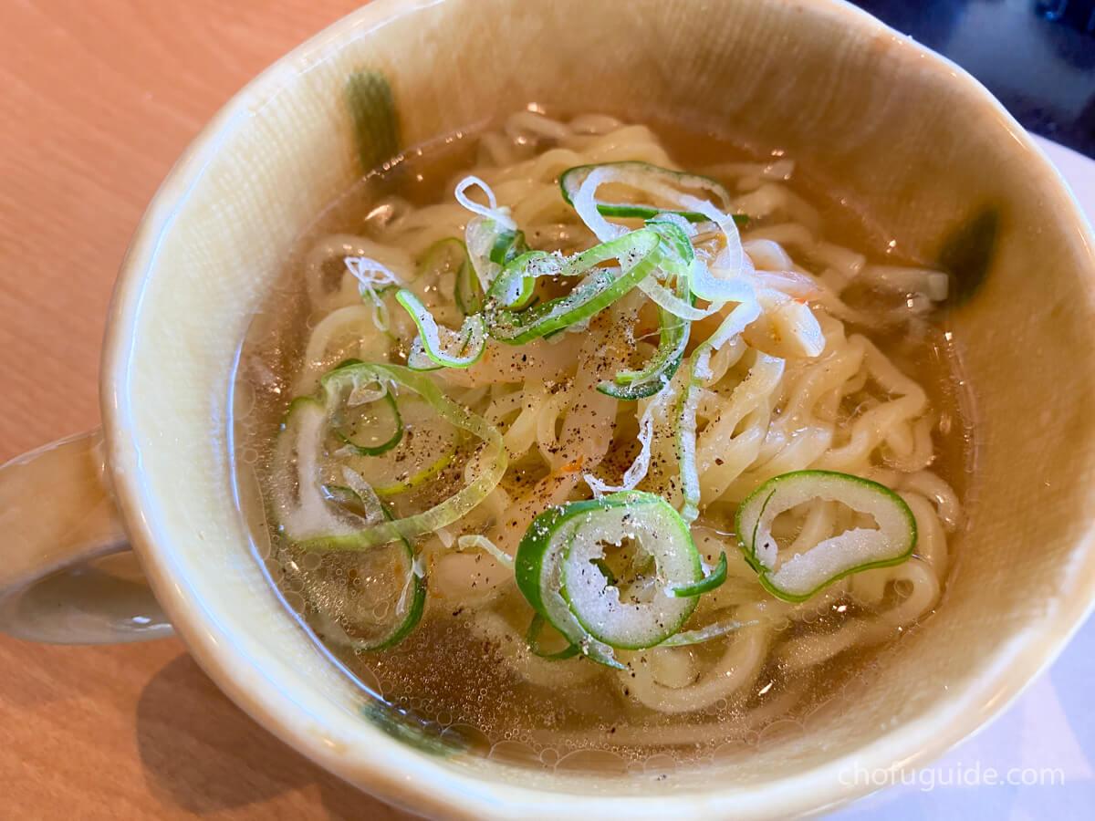 しゃぶしゃぶの汁を使って中華麺